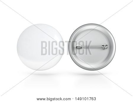 Blank white button badge mockup front and back side clipping path 3d rendering. Empty clear pin emblem mock up. Round plastic volunteer label. Vote sign design template. Campaigning badges display.