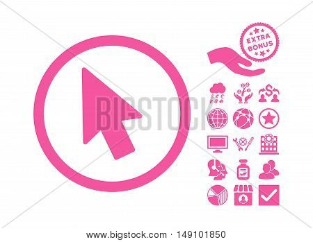 Mouse Pointer icon with bonus elements. Vector illustration style is flat iconic symbols pink color white background.