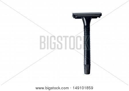 Double edge razor aisolation. Shaving items isolated against a white background. Copyspace.