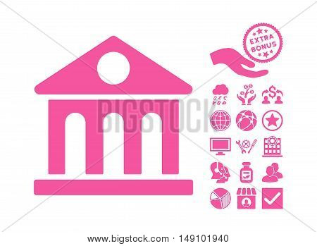 Museum Building icon with bonus pictogram. Vector illustration style is flat iconic symbols pink color white background.