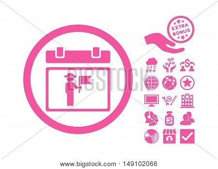 National Holiday Day icon with bonus design elements. Vector illustration style is flat iconic symbols pink color white background.