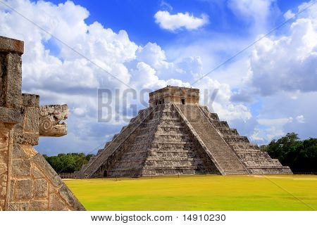 Chichen Itza Snake And Kukulkan Mayan Pyramid