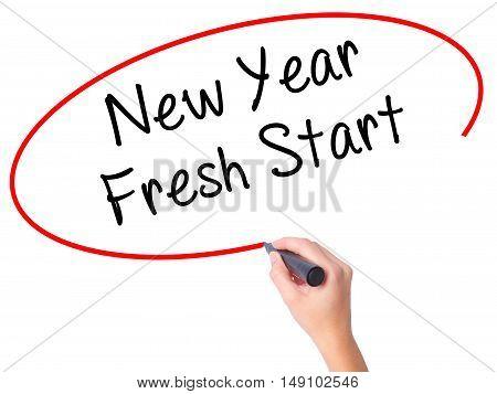 Women Hand Writing New Year Fresh Start With Black Marker On Visual Screen