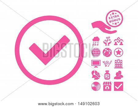 Ok icon with bonus clip art. Vector illustration style is flat iconic symbols pink color white background.