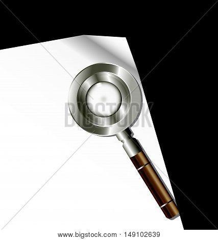 dark background, sheet of white paper and retro magnifying glass