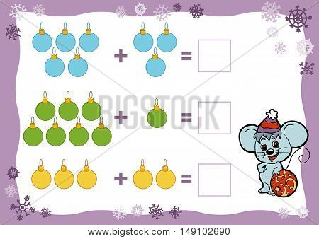 Counting Game for Preschool Children. Addition worksheets. Christmas toys. Educational a mathematical game. Count the numbers in the picture and write the result.