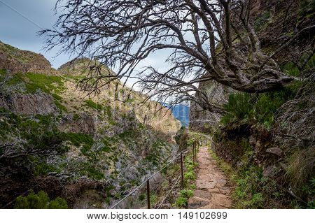Hiking path on the edge of a rocky cliff near the Pico Ruivo mountain. Popular hiking path, Madeira island, Portugal.