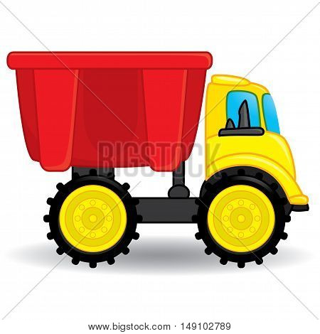 Dump truck toy. Coloring book. Vector illustration