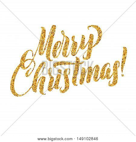 Gold Merry Christmas Card. Golden Shiny Glitter. Calligraphy Greeting Poster Template. Isolated White Background.