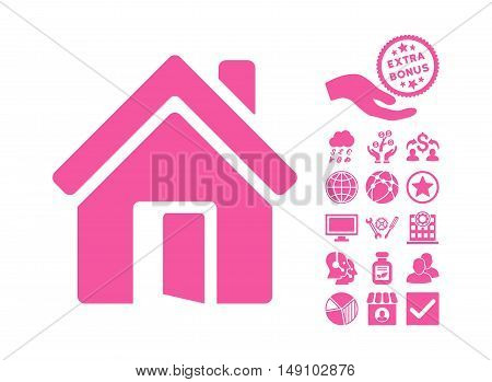 Open House Door pictograph with bonus elements. Vector illustration style is flat iconic symbols pink color white background.