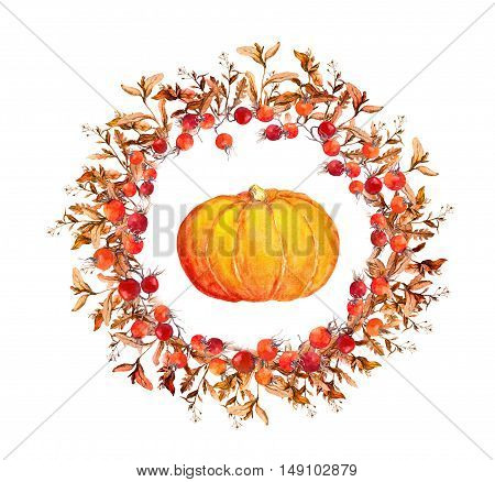 Thanksgiving wreath - pumpkins, berries, autumn leaves. Watercolor round border for thanks giving day