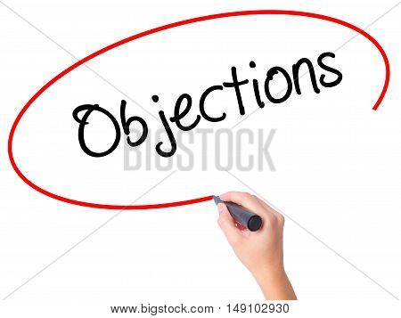 Women Hand Writing Objections  With Black Marker On Visual Screen