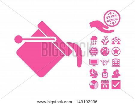 Paint Bucket icon with bonus pictures. Vector illustration style is flat iconic symbols pink color white background.