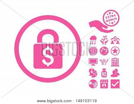 Pay Lock pictograph with bonus design elements. Vector illustration style is flat iconic symbols pink color white background.