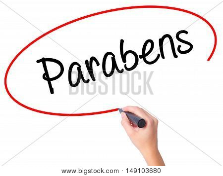 Women Hand Writing Parabens (happy Birthday In Portuguese) With Black Marker On Visual Screen