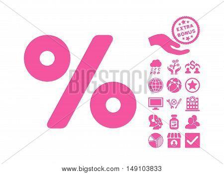 Percent icon with bonus icon set. Vector illustration style is flat iconic symbols pink color white background.