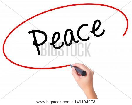 Women Hand Writing Peace  With Black Marker On Visual Screen