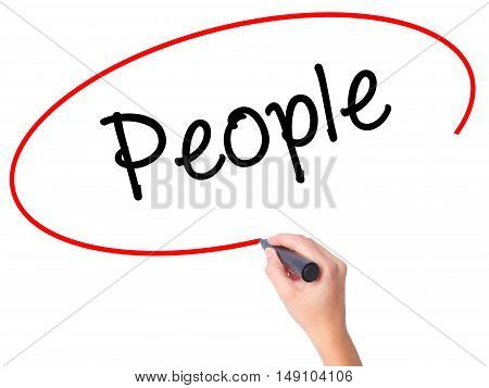 Women Hand Writing People With Black Marker On Visual Screen