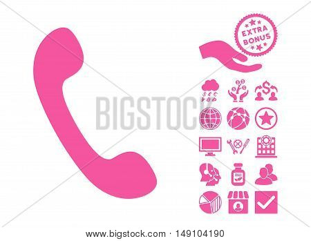 Phone pictograph with bonus symbols. Vector illustration style is flat iconic symbols pink color white background.