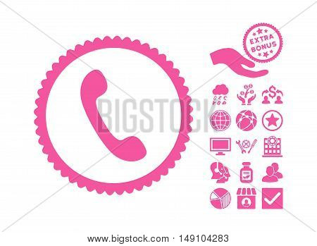 Phone pictograph with bonus clip art. Vector illustration style is flat iconic symbols pink color white background.