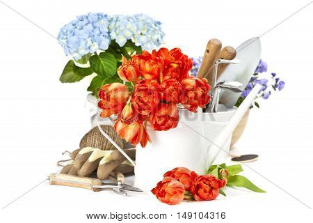 Flowers, vegetables and fruit in trugs with gloves and trowel