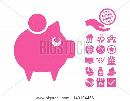 Piggy Bank pictograph with bonus pictures. Vector illustration style is flat iconic symbols pink color white background.