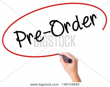Women Hand Writing Pre-order  With Black Marker On Visual Screen