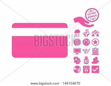 Plastic Card pictograph with bonus pictogram. Vector illustration style is flat iconic symbols pink color white background.