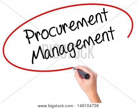 Women Hand Writing Procurement Management With Black Marker On Visual Screen.