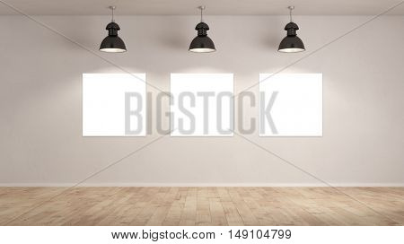 Galery presentation with 3 blank canvas for background interior presentation (3D Rendering)