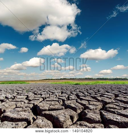 dramatic sky with clouds and desert with cracked earth
