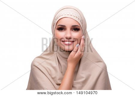 Woman in traditional muslim clothing isolated on white