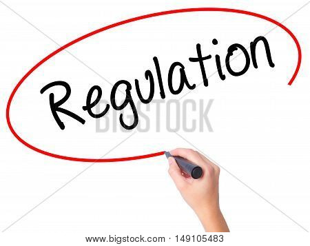 Women Hand Writing Regulation  With Black Marker On Visual Screen