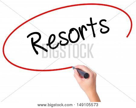 Women Hand Writing Resorts  With Black Marker On Visual Screen