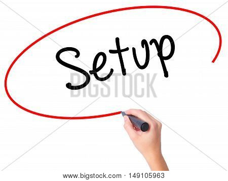Women Hand Writing Setup  With Black Marker On Visual Screen