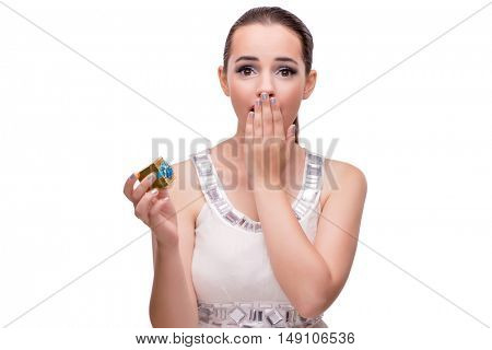 Young woman receiving proposal isolated on white