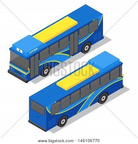 City Bus Isometric View. Public Transportation. Vector illustration
