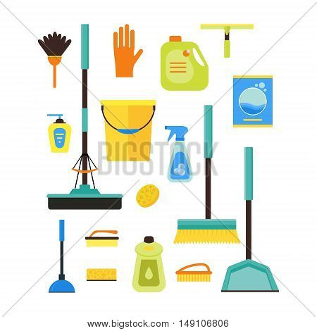 Colorful Cleaning Kit. Flat Design Style. Vector illustration