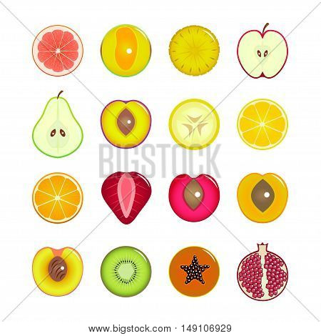 Halves Of Fruit Set. Can Be Used for Menu Restaurants. Flat Design Style. Vector illustration