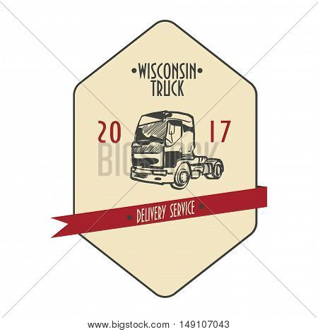 Delivery Service Label with Doodle Styled Drawn Truck and Typographic Text