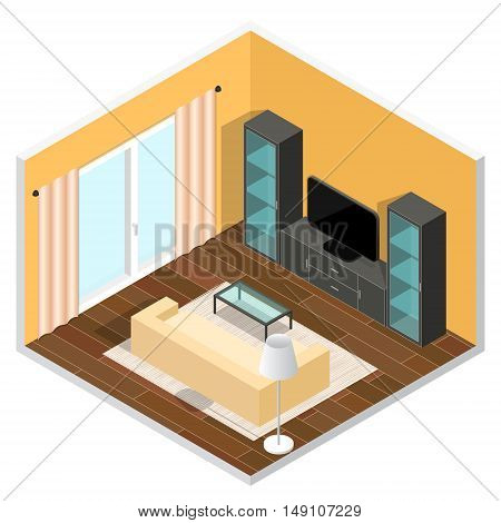 Interior of a Living Room. Isometric View. Vector illustration