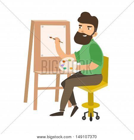 Painter Man at Work Easel Palette. Flat Design Style. Vector illustration