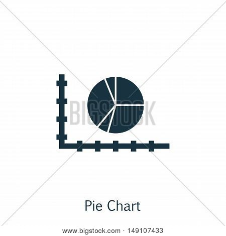 Vector Illustration Of Statistics Icon On Pie Chart Graph In Trendy Flat Style. Statistics Isolated