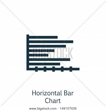 Vector Illustration Of Statistics Icon On Horizontal Bar Chart Graph In Trendy Flat Style. Statistic