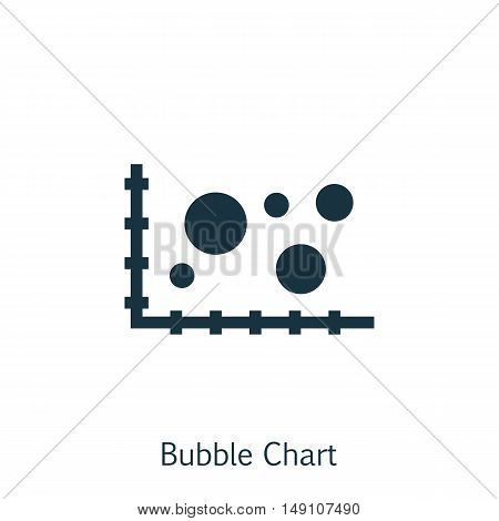 Vector Illustration Of Statistics Icon On Bubble Chart In Trendy Flat Style. Statistics Isolated Ico