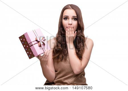 Woman with giftbox isolated on white
