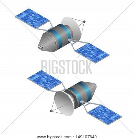 Solar Observation Satellite. Wireless Technology. Isometric View. Vector illustration