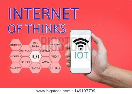 Hand holding smart phone with Internet of things (IoT) word and wireless icon in mobile and icon on virtual hexagons screen. Digital Marketing concept.