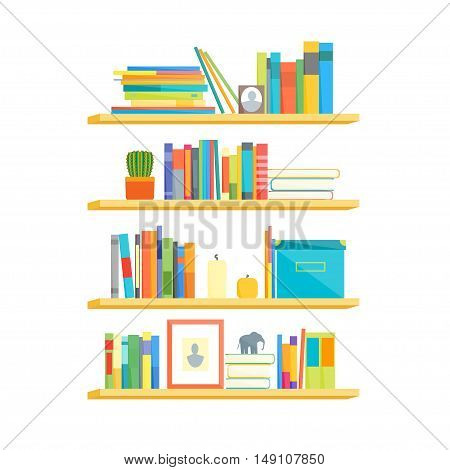 Shelves with Colorful Books. Flat Design Style. Vector illustration