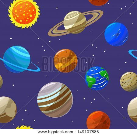 Solar System Planets and Sun Background Pattern. Flat Design Style. Vector illustration